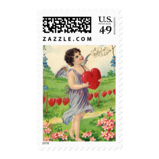 Vintage Valentines Victorian Cupid Holding a Heart Postage Stamps