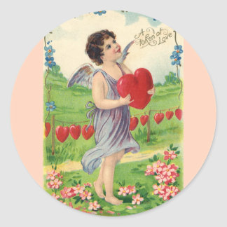 Vintage Valentines Victorian Cupid Holding a Heart Stickers