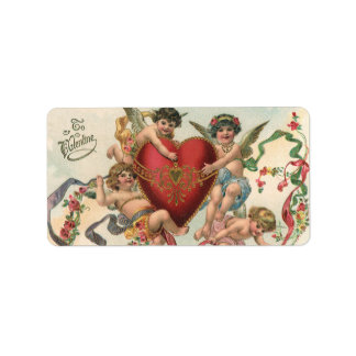 Vintage Valentines, Victorian Cupids Angels Heart Personalized Address Labels