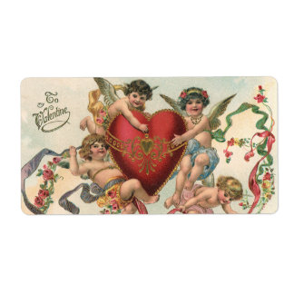 Vintage Valentines, Victorian Cupids Angels Heart Custom Shipping Label