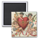 Vintage Valentines, Victorian Cupids Angels Heart 2 Inch Square Magnet