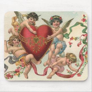 Vintage Valentines, Victorian Cupids Angels Heart Mousepads