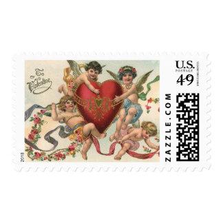 Vintage Valentines, Victorian Cupids Angels Heart Stamp
