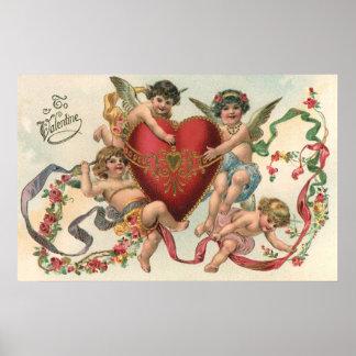 Vintage Valentines, Victorian Cupids Angels Heart Poster