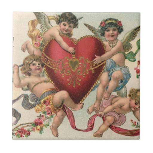 Vintage Valentines, Victorian Cupids Angels Heart Small Square Tile