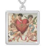 Vintage Valentines, Victorian Cupids Angels Heart Square Pendant Necklace