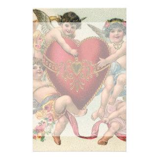 Vintage Valentines, Victorian Cupids Angels Heart Stationery