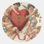 Vintage Valentines, Victorian Cupids Angels Heart Sticker
