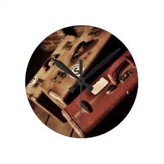 Vintage Valises - maleta del vintage Reloj Redondo Mediano