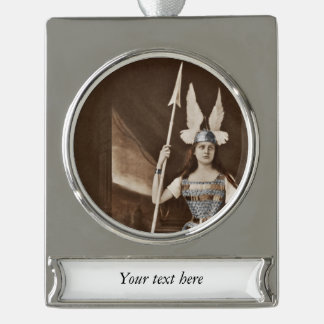 Vintage Valkyrie Girls Silver Plated Banner Ornament