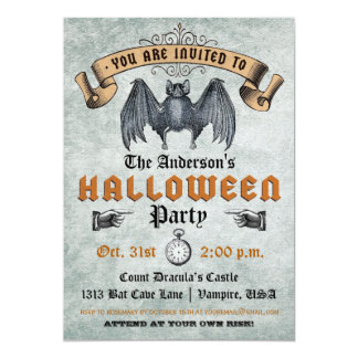 "Vintage Vampire Bat Halloween Invitation 5"" X 7"" Invitation Card"