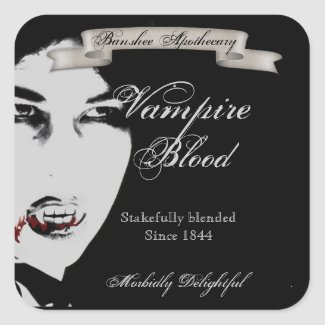 Vintage Vampire Blood Halloween Bottle Stickers