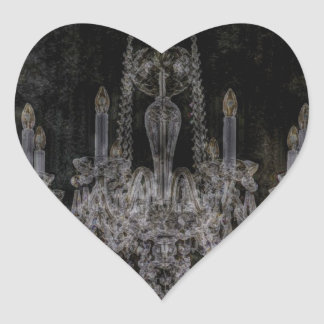 Vintage vampire gothic distressed chandelier heart sticker