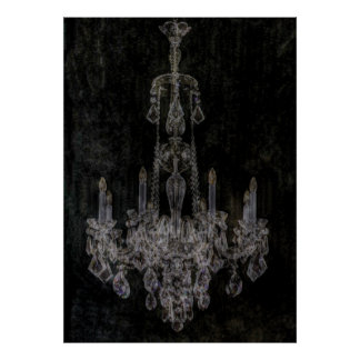 Vintage vampire gothic distressed chandelier poster