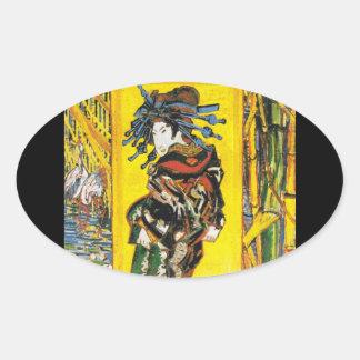 Vintage Van Gogh Geisha 1887 Oval Sticker