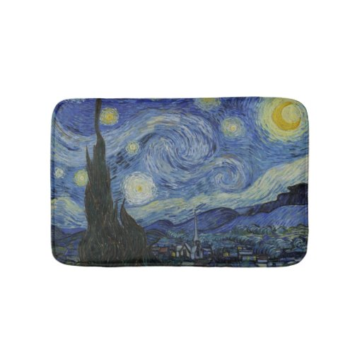 Vintage Van Gogh Starry Night Bathroom Mat Zazzle