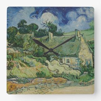 Vintage Van Gogh Thatched Cottages At Cordeville Square Wall Clock