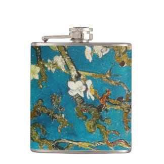 Vintage Van Gogh Turquoise Blossoming Tree Flask