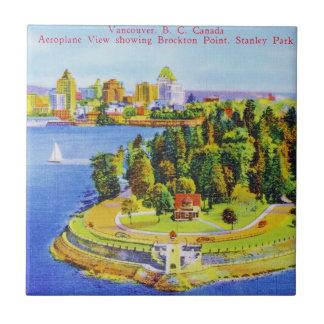 Vintage Vancouver Island Poster Ceramic Tile