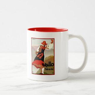Vintage Varallo Valsesia 1930s Italian travel Two-Tone Coffee Mug