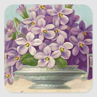 Vintage Vase of Purple Flowers Square Sticker