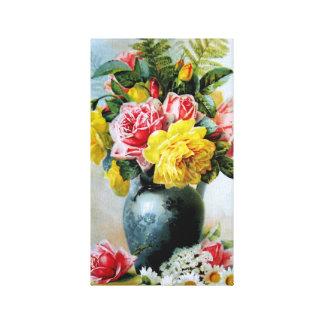 Vintage Vase of Roses Canvas Print