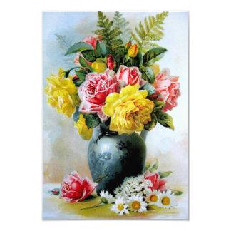 Vintage Vase of Roses Card