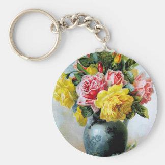 Vintage Vase of Roses Keychains