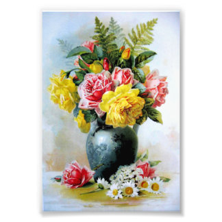 Vintage Vase of Roses Photo Art