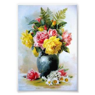 Vintage Vase of Roses Photo Art