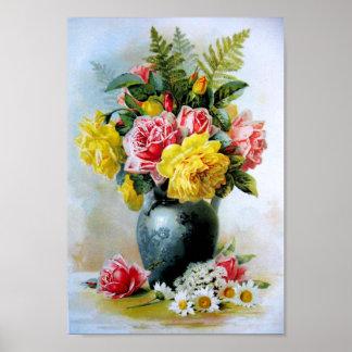 Vintage Vase of Roses Poster