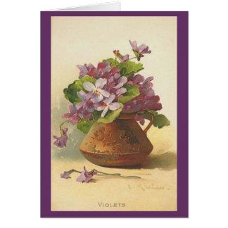 Vintage - Vase of Violets Card