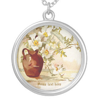 Vintage vase with white roses watercolor necklace