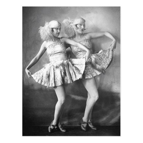 Vintage Vaudeville Dancers Retro Glam Postcard