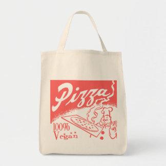 Vintage Vegan Pizza Grocery Tote Bag