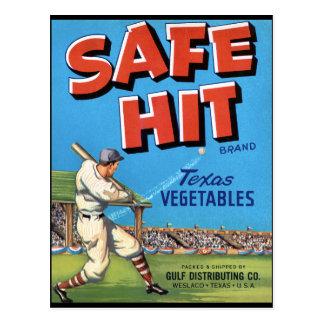 Vintage Vegetable Advertisement Safe Hit Postcard