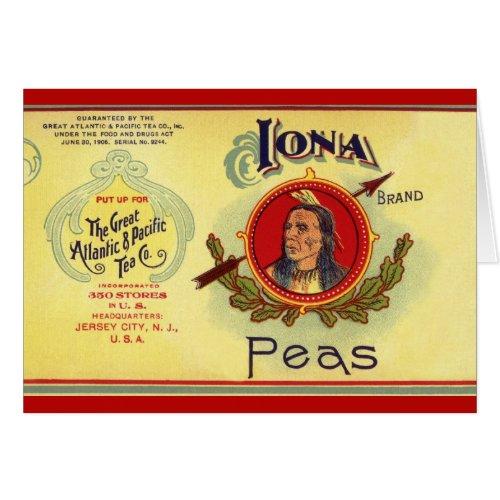Vintage Vegetable Can Label Art, Iona Brand Peas