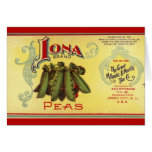 Vintage Vegetable Can Label Art, Iona Brand Peas Card