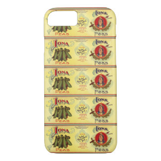 Vintage Vegetable Can Label Art, Iona Brand Peas iPhone 8/7 Case