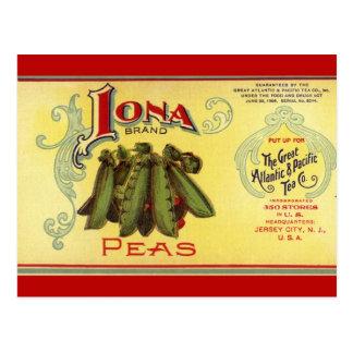 Vintage Vegetable Can Label Art,Iona Brand Peas Postcards