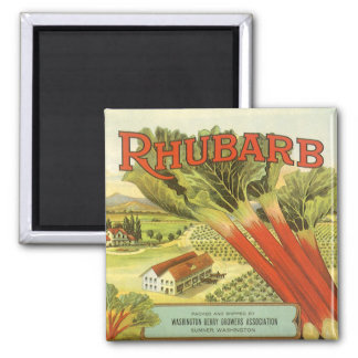 Vintage Vegetable Can Label Art, Rhubarb Farm 2 Inch Square Magnet