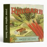 Vintage Vegetable Can Label Art, Rhubarb Farm Binders