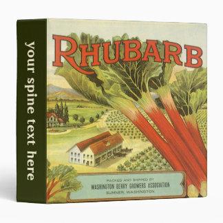 Vintage Vegetable Can Label Art, Rhubarb Farm Binder
