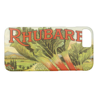 Vintage Vegetable Can Label Art, Rhubarb Farm iPhone 8/7 Case