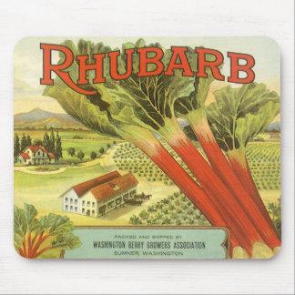 Vintage Vegetable Can Label Art, Rhubarb Farm Mouse Pad