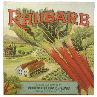 Vintage Vegetable Can Label Art, Rhubarb Farm Napkin