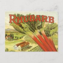 Vintage Vegetable Can Label Art, Rhubarb Farm Postcard