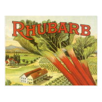 Vintage Vegetable Can Label Art, Rhubarb Farm Postcard