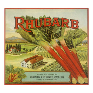 Vintage Vegetable Can Label Art, Rhubarb Farm Poster