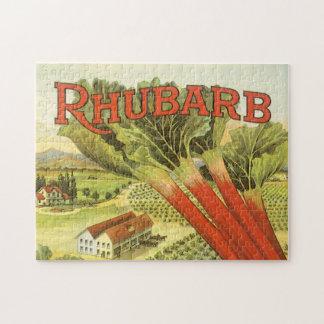 Vintage Vegetable Can Label Art, Rhubarb Farm Puzzle